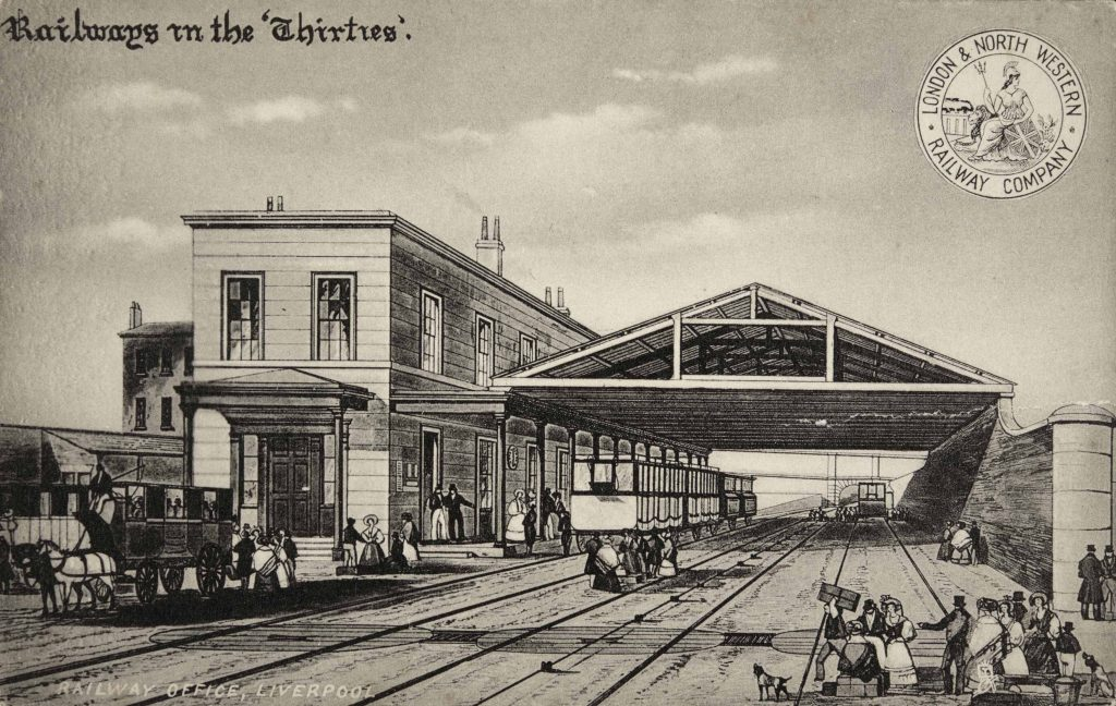 an old postcard illustration of a learge two line railway station