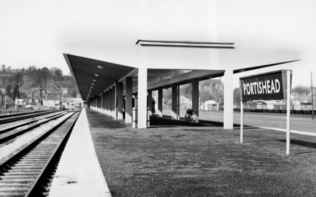 a photo of a railway station with a modern sixties design