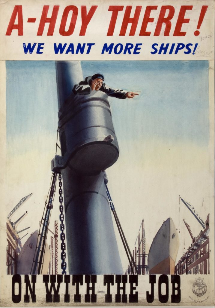 a poster showing a sailor calling from a submarine conning tower in a shipyard