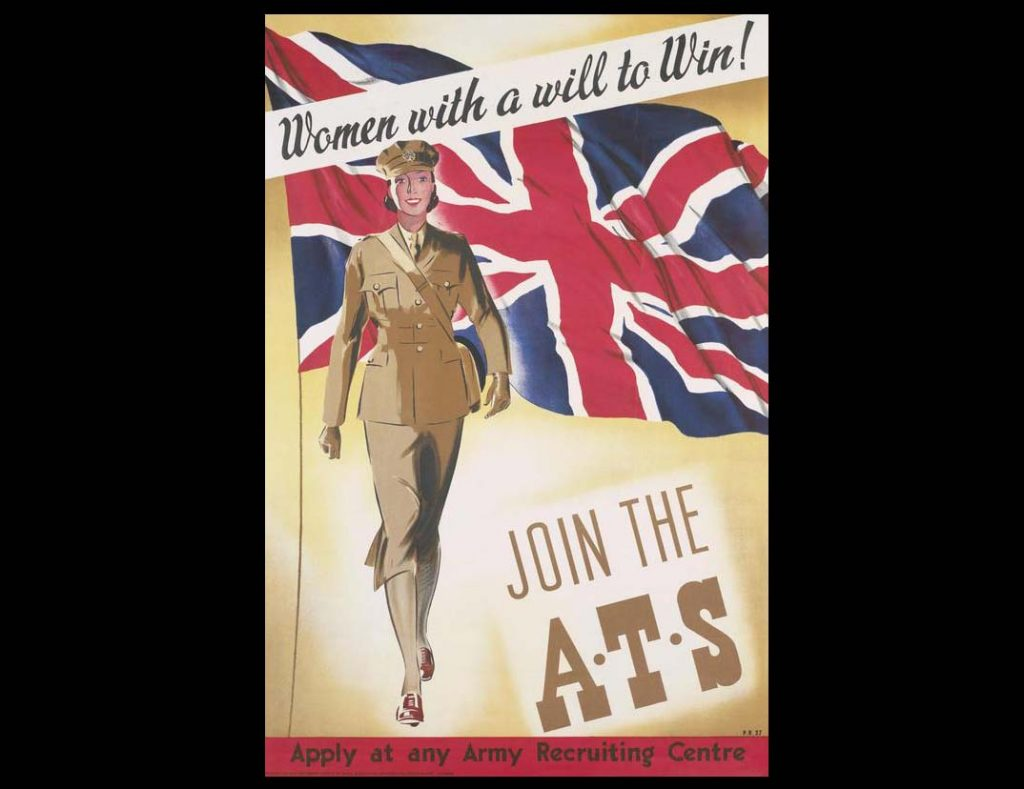 : a full-length depiction of a female ATS member, walking towards the viewer. A large Union flag flies behind her. text: Women with a will to Win!