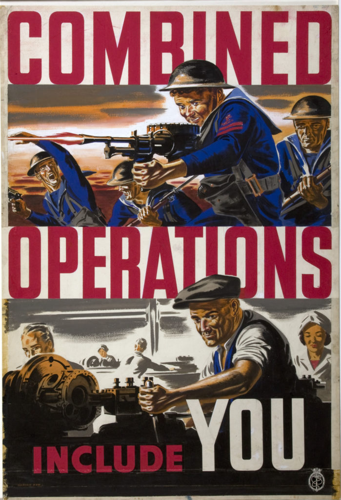 a poster showing factory workers mimicking the actions of a group of sailors attacking with machine guns