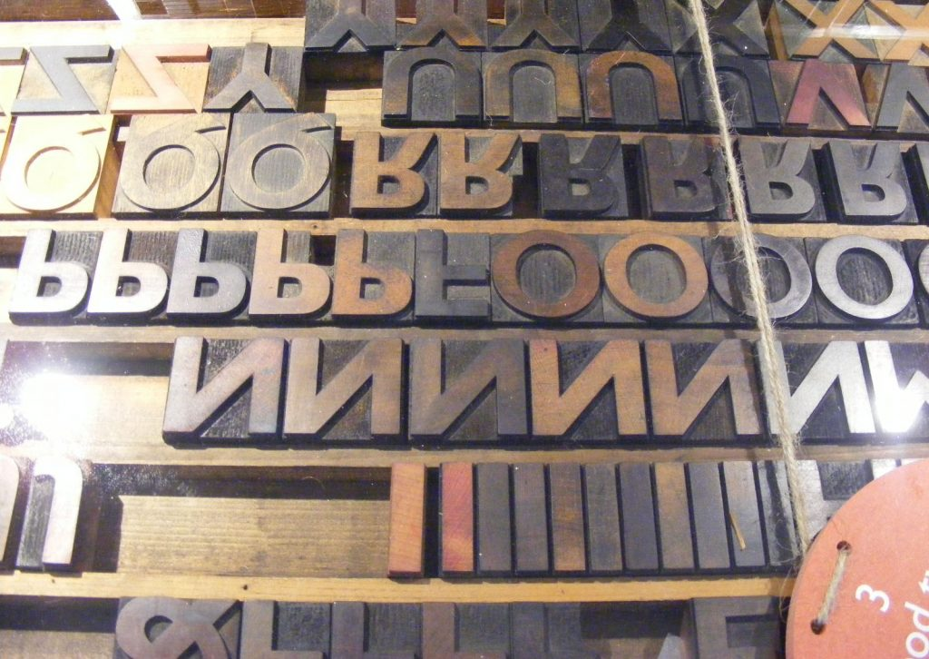 a photo of block typeface