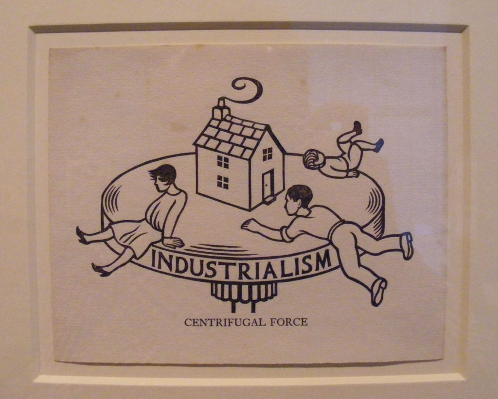 a woodcut showing figures holding onto a spinning top with the word industrialisation carved into its side