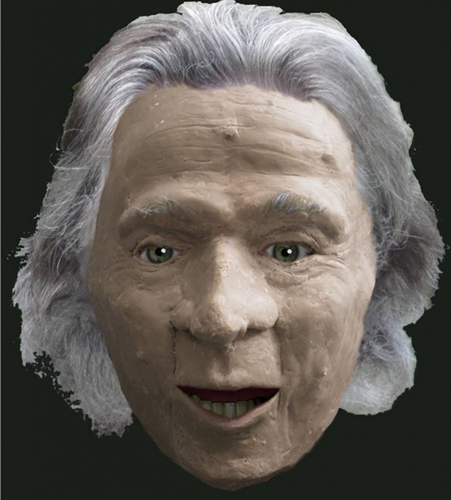 a facial reconstruction of Gristhorpe Man and elderly man with medium length grey hair