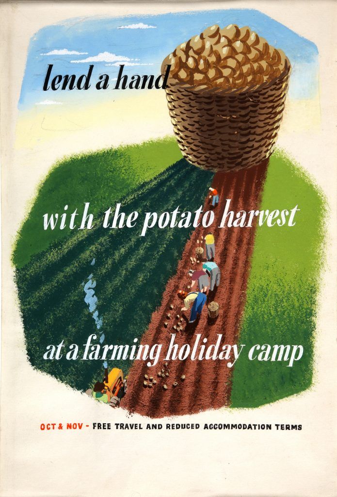 a poster featuring people in a field harvesting