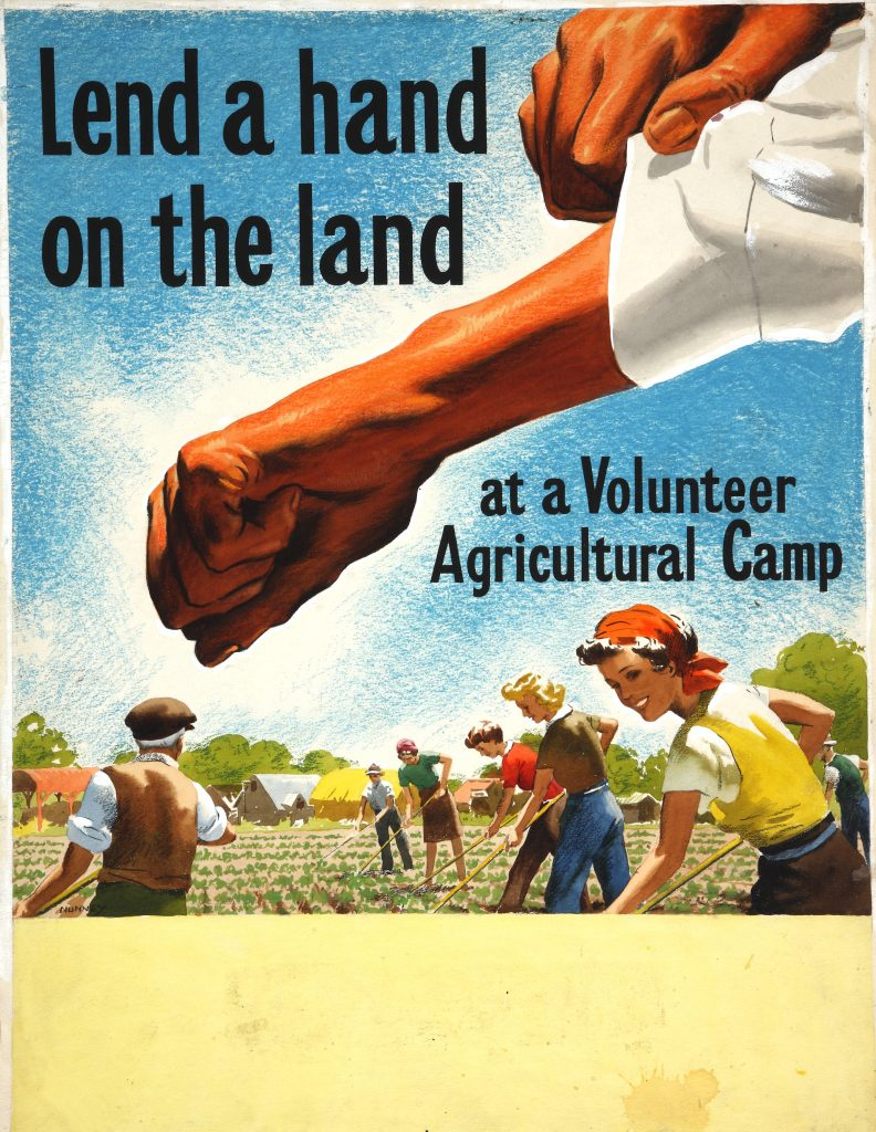 a lend a hand on the land poster featuring smiling people tilling the fields