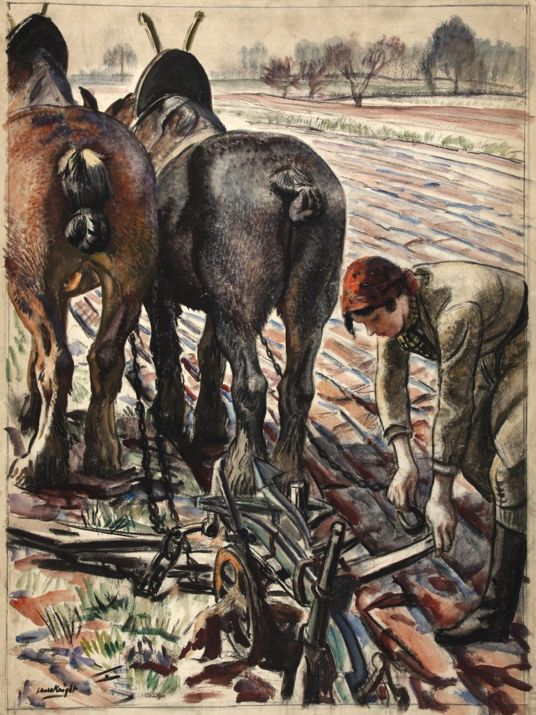 a coloiur watercolour sketch of a land girl adjusting a plough pulled by two horses