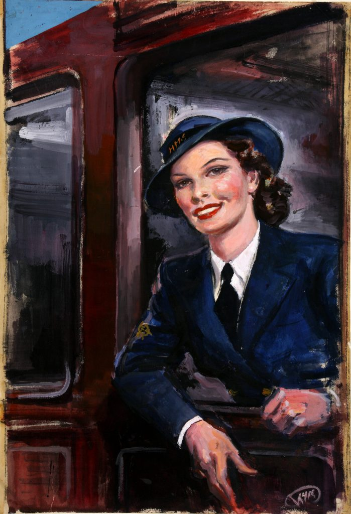 a patinug of a woman in WRNS uniform leaning out of a railway carriage