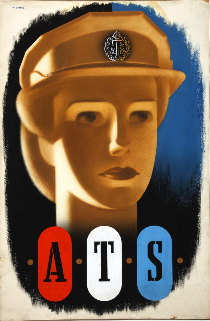 a poster with head of a woman in ATS cap and the word ATS