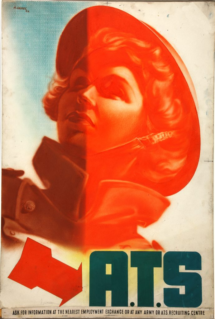 a poster featuring a helmeted young woman and the letters ATS
