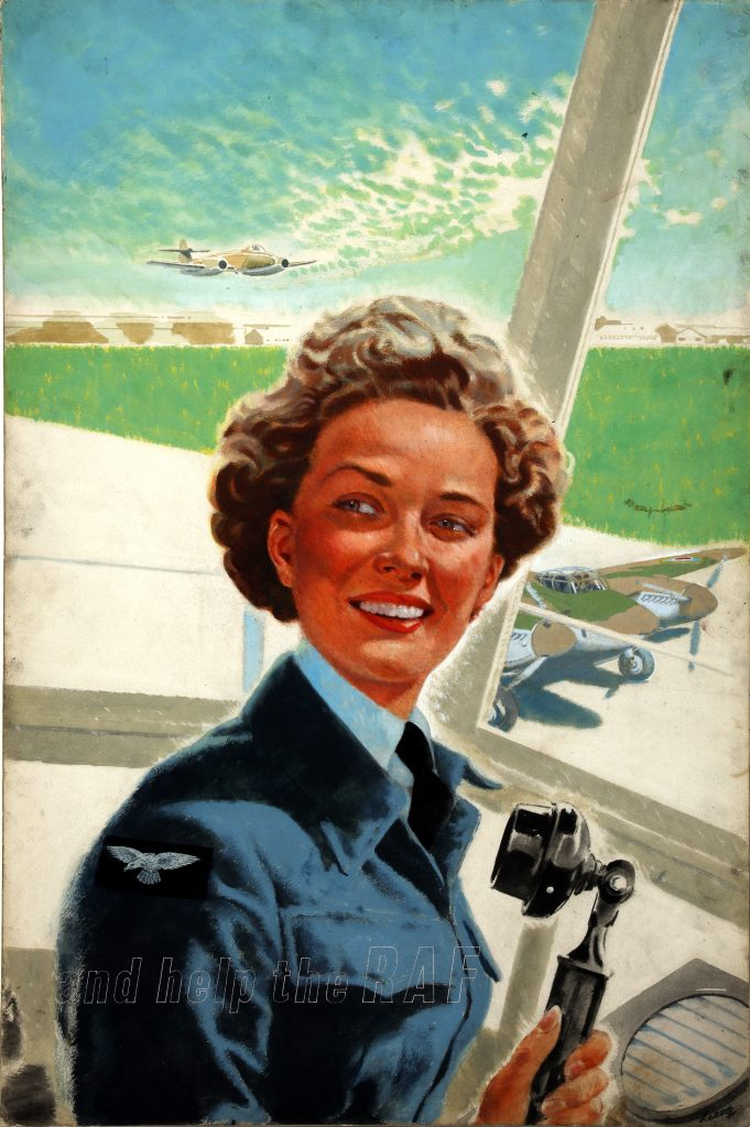 a painting of woman in Royal Air Force uniform in a control tower