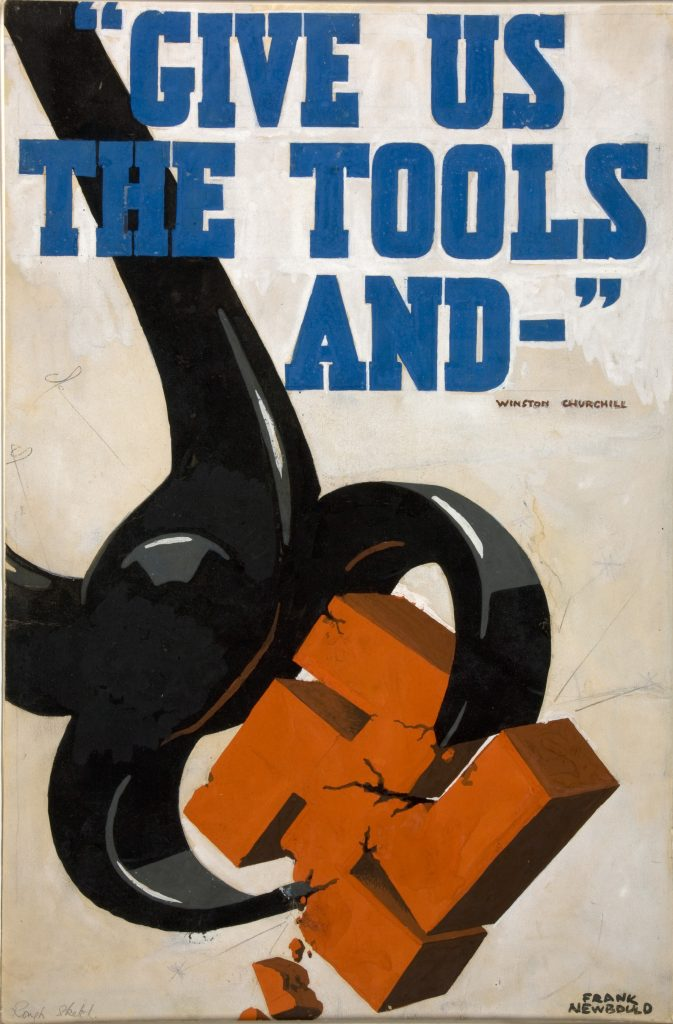 a poster featuring a set of pliers crushing a swastika