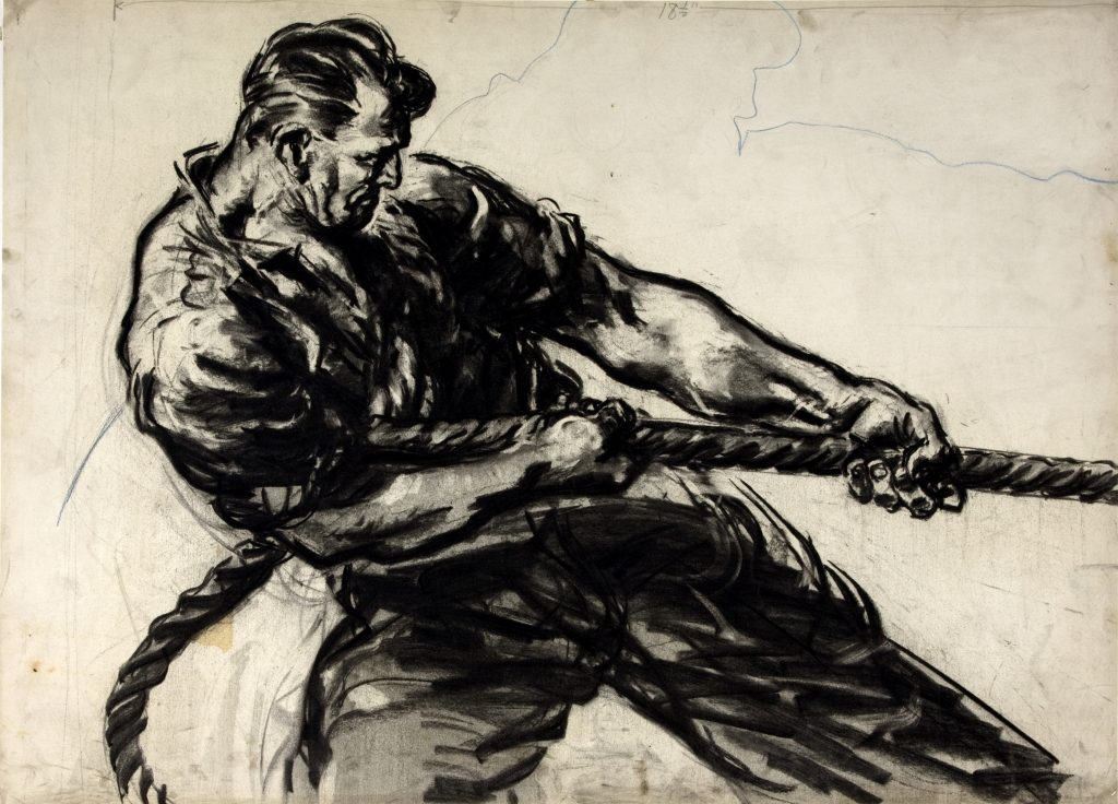 a charcoal drawing of a thick set man heaving a rope