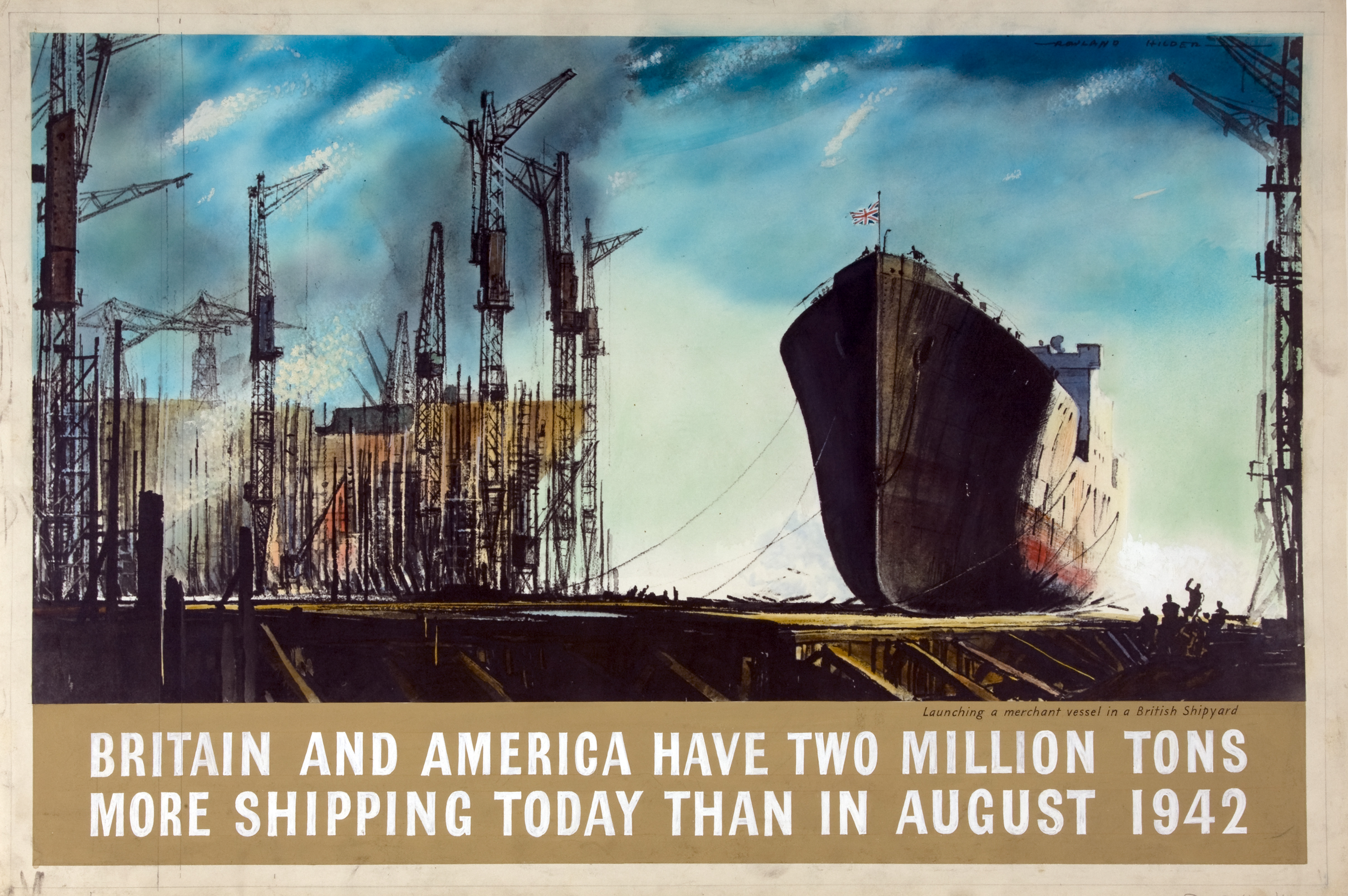 a poster with a central image showinbg a ship moving out of a busy shipyard