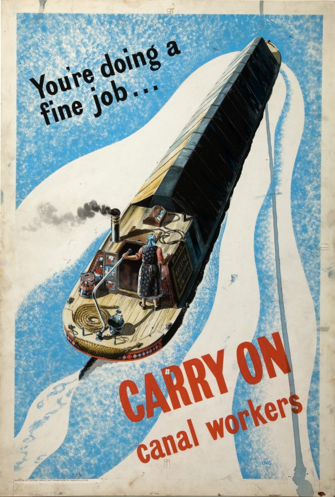 a poster featuring a woman steering a canal barge