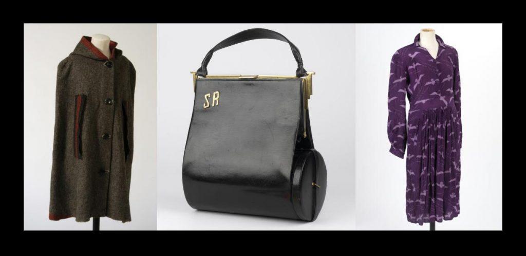 a composite series of images showinbg a cloak, a handbag and a dress