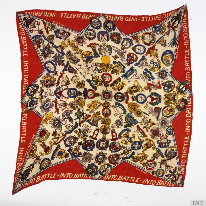 Ladies' Jacqmar headscarf (L 91cm X W 83cm) with 'INTO BATTLE' slogan printed around edges and insignia associated with British and South East Asian regiments printed on an eight-point star with border in red.
