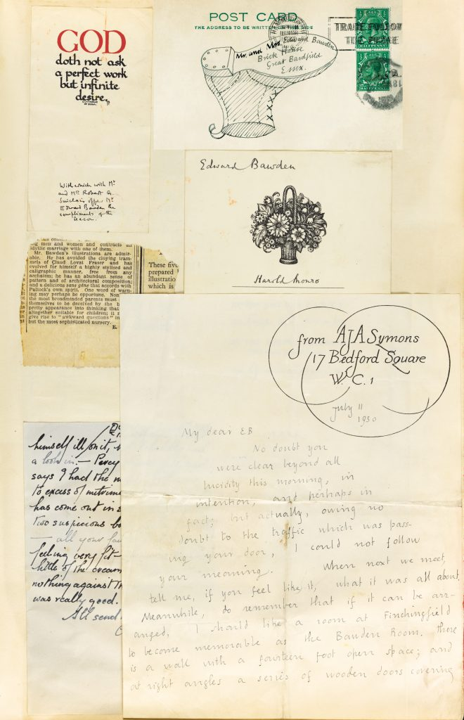 a page of a scrapbook featuring postcards and letters pasted into it