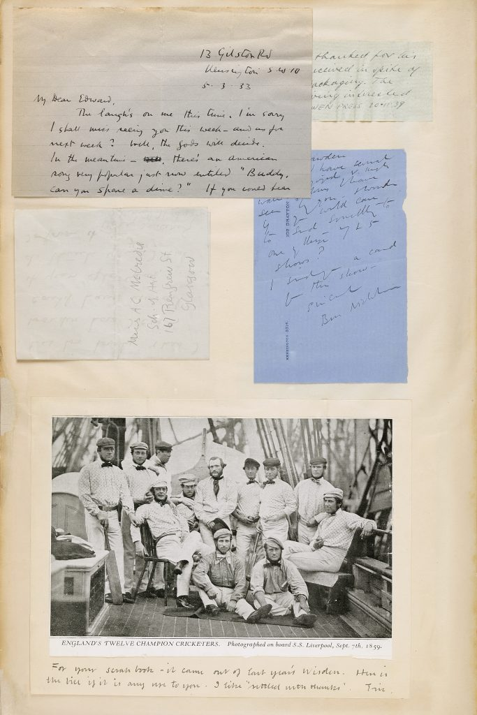 a pgae from scrapbook including letters and a photo of Victorian cricketers