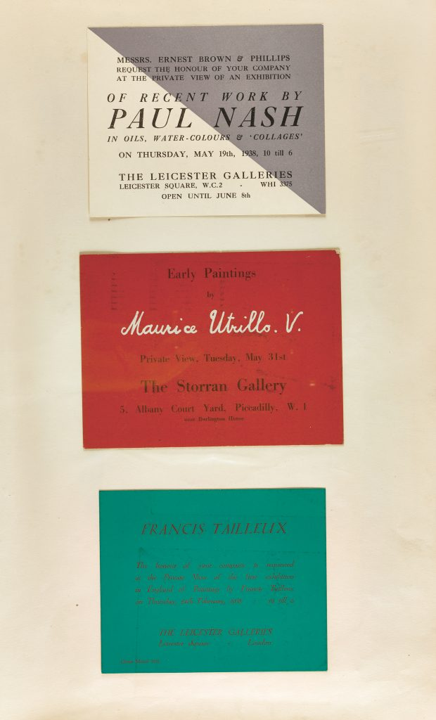 a page of three plain private view invite cards