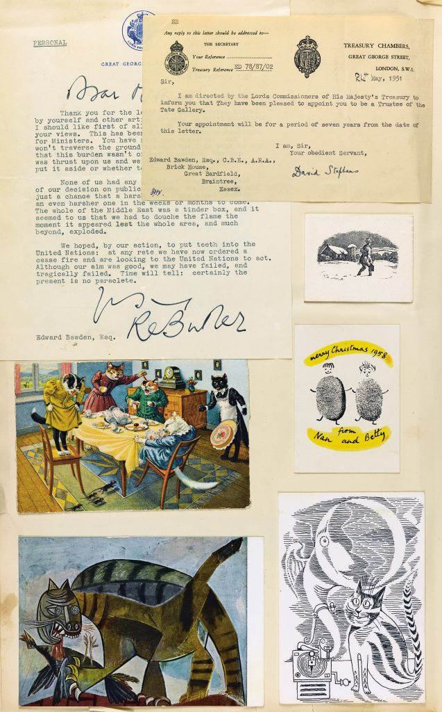 An eclectic page from a scrapbook including official letters and four different illustrations of cats