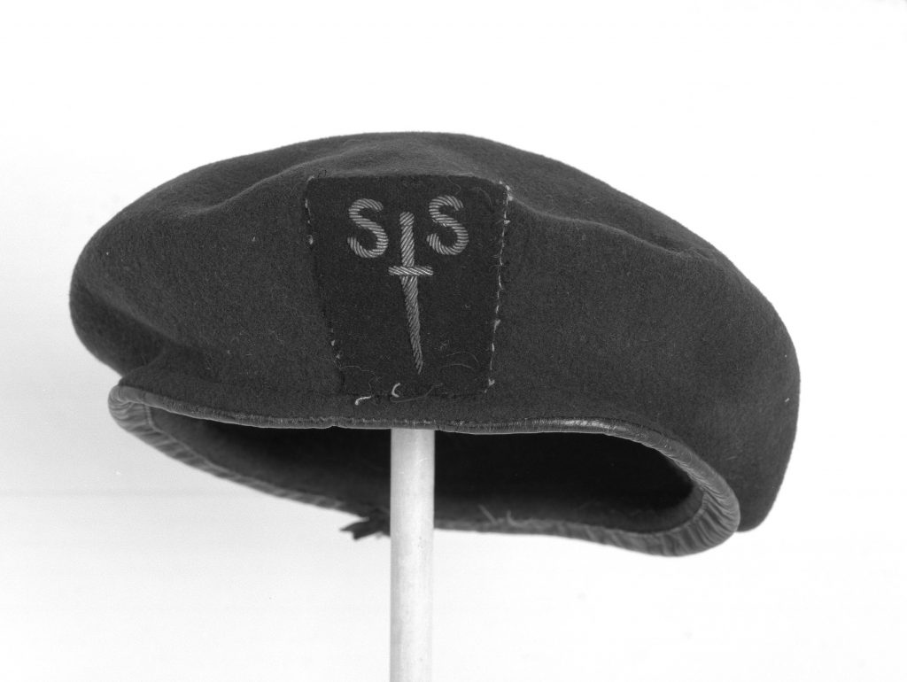 A photo of a beret with a badge with SS surmounted by a dagger
