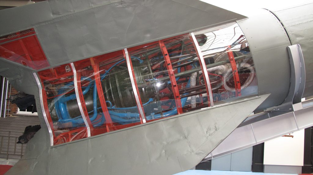 a close up of the engine/tail section in cutaway on a V2 rocket