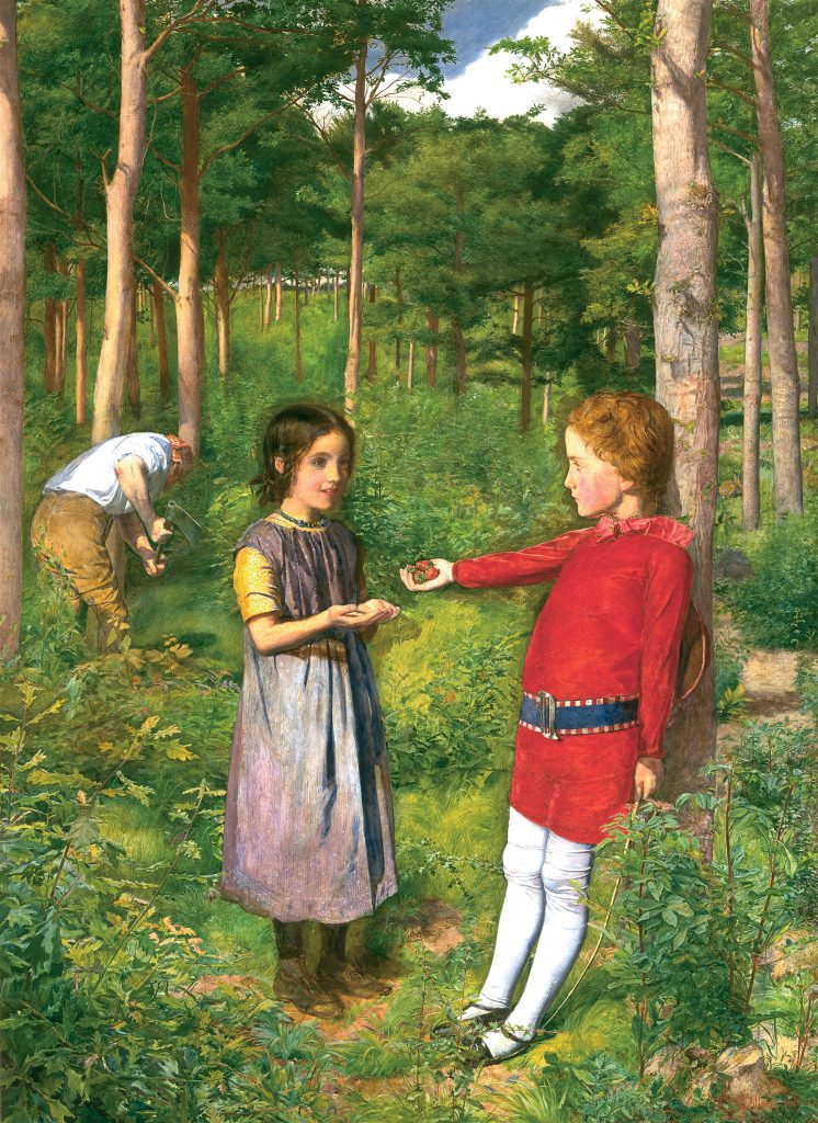 A painting of a woodland scene, two children stand in the foreground one passing the other a handful of berries while a woodman can be seen in the back chopping wood.