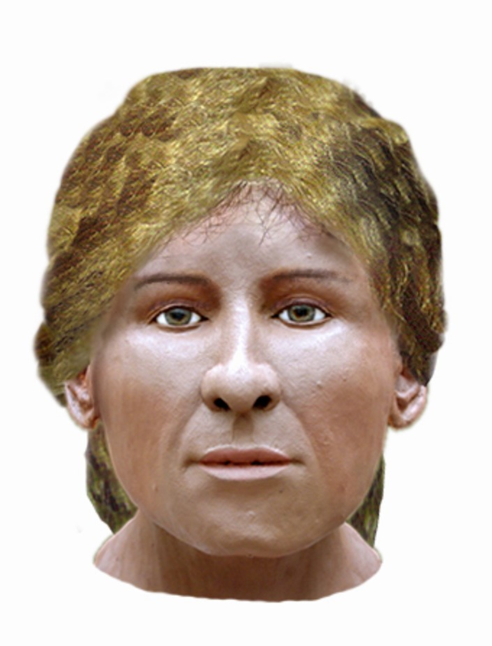 a photo of a reconstructed head of an Anglo Saxon woman with golden hair
