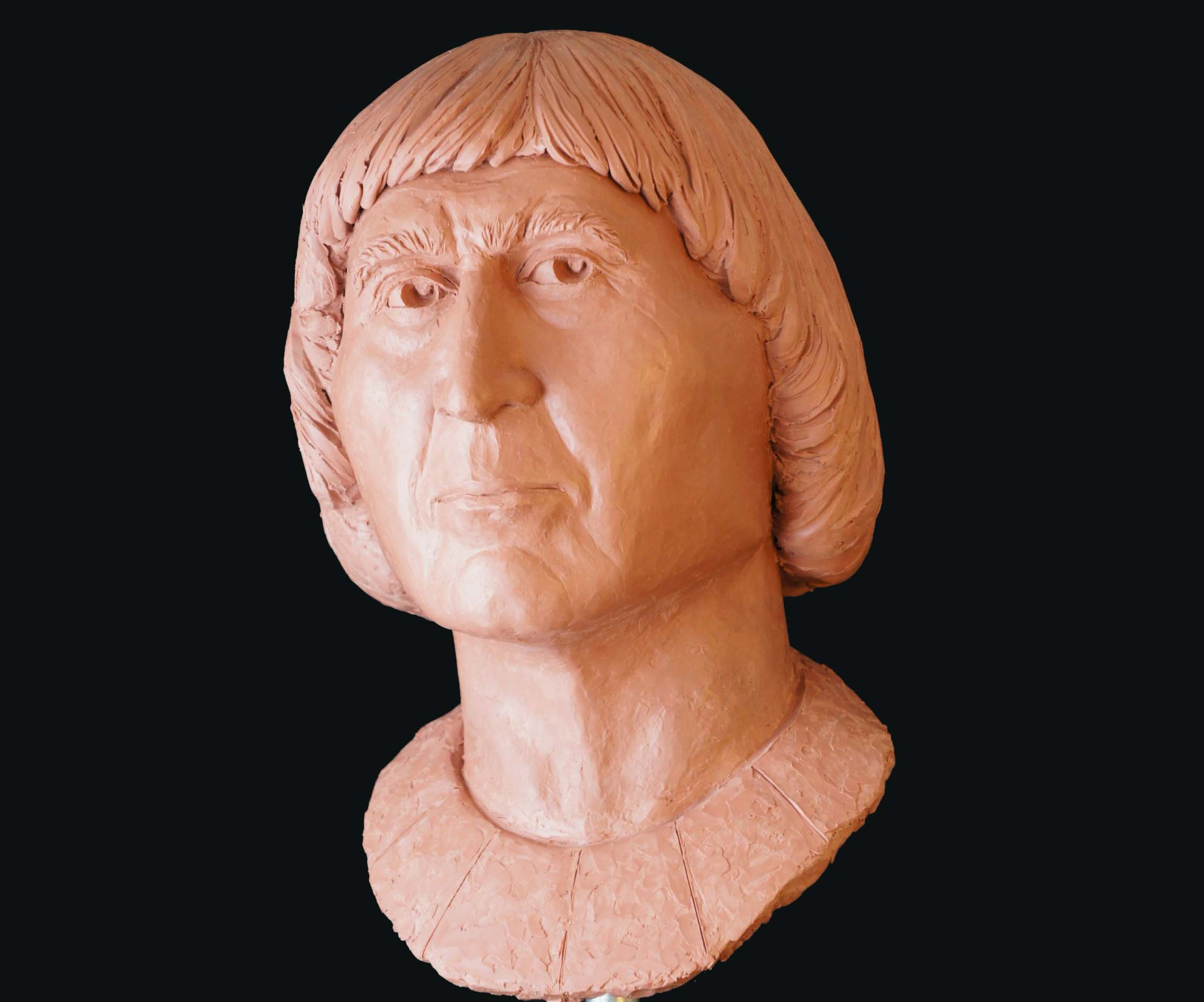 a clay reconstruction of a medieval man