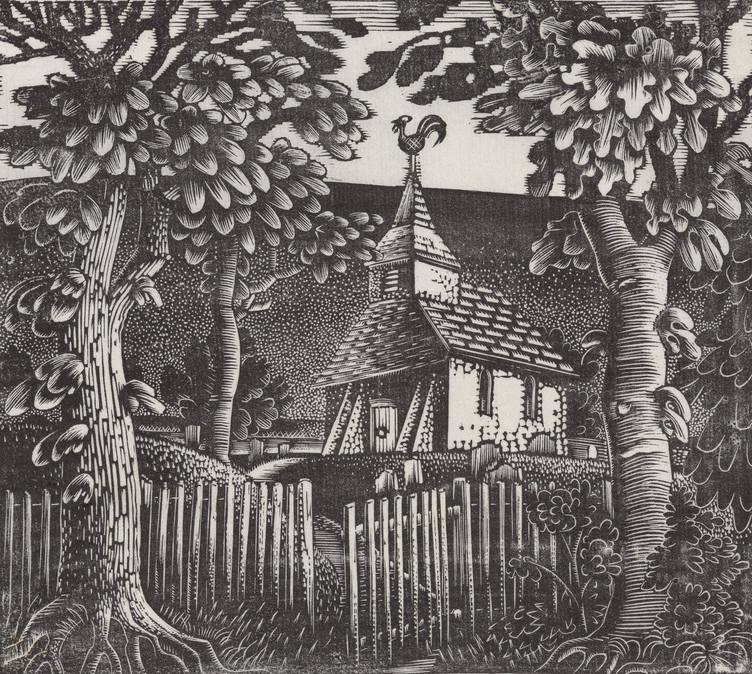 a woodcut of a small church