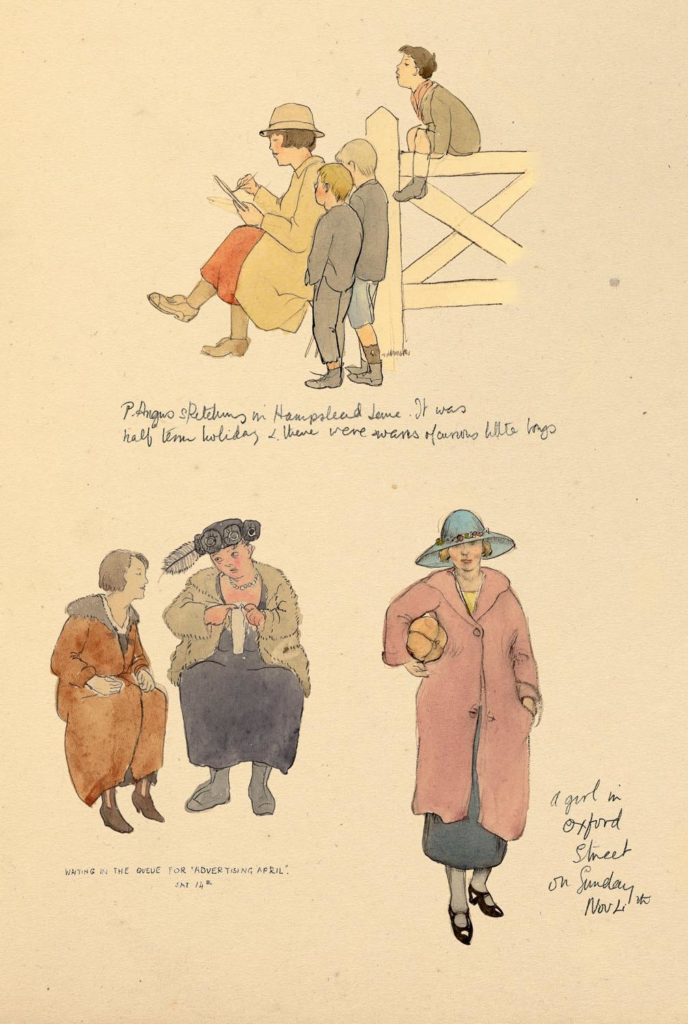 an illustration of women in various clothes