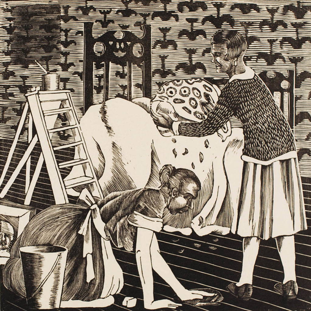 a print of two women cleaning a bedroom