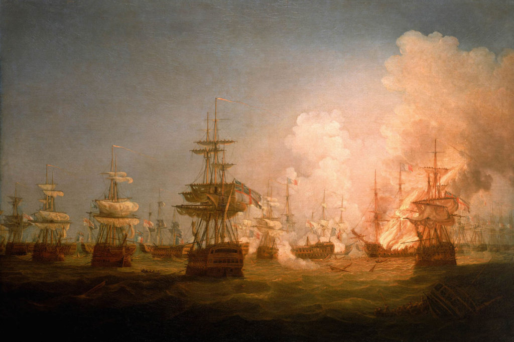 a large painting of a sea battle with sialed shops blazing away at each other