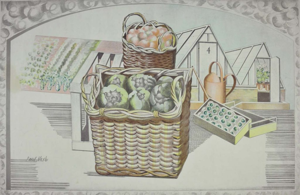 a print showing a basket of vegetables next to a greenhouse