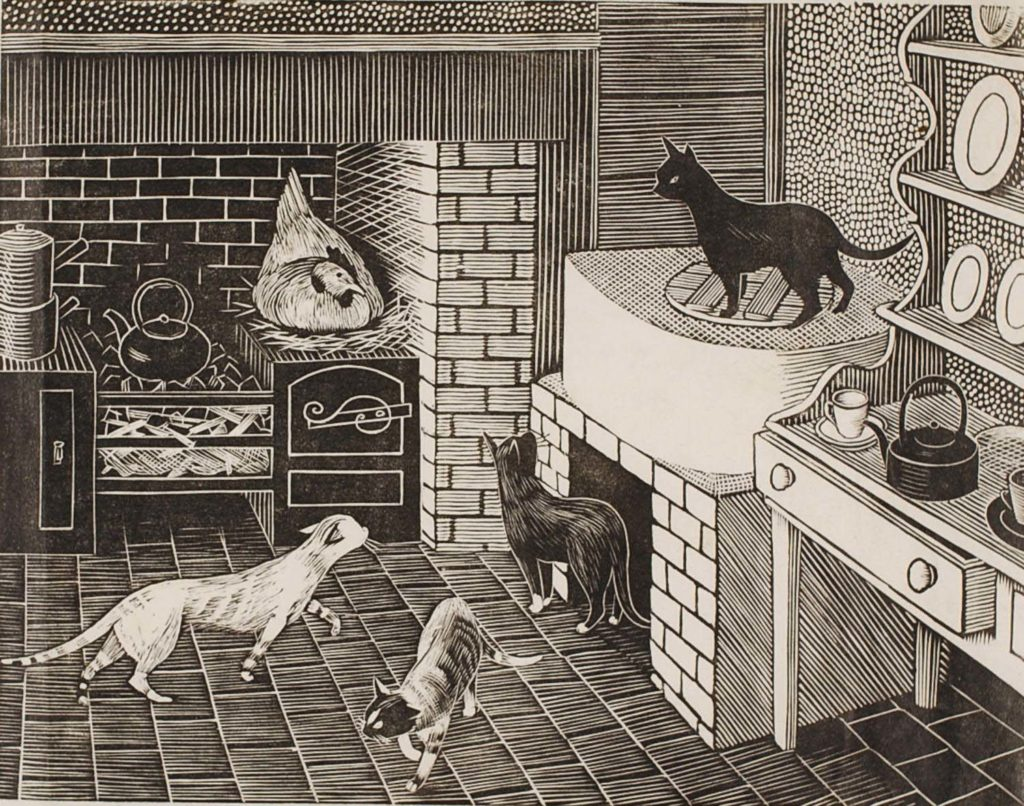 a black and white print of a kitchen full of cats