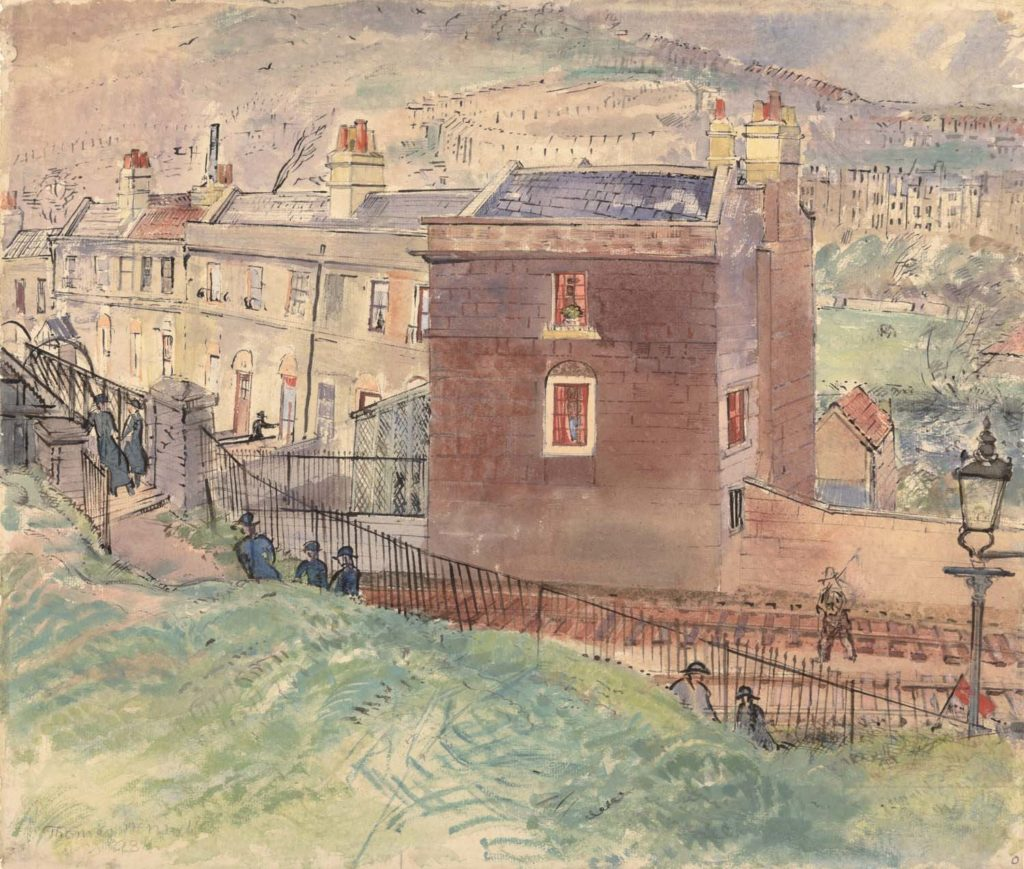a painting of a trainline passing an old town house