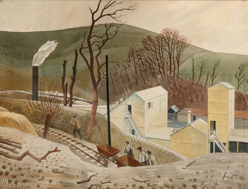 a painting of men moving railed wagons to a cement works through a cutting