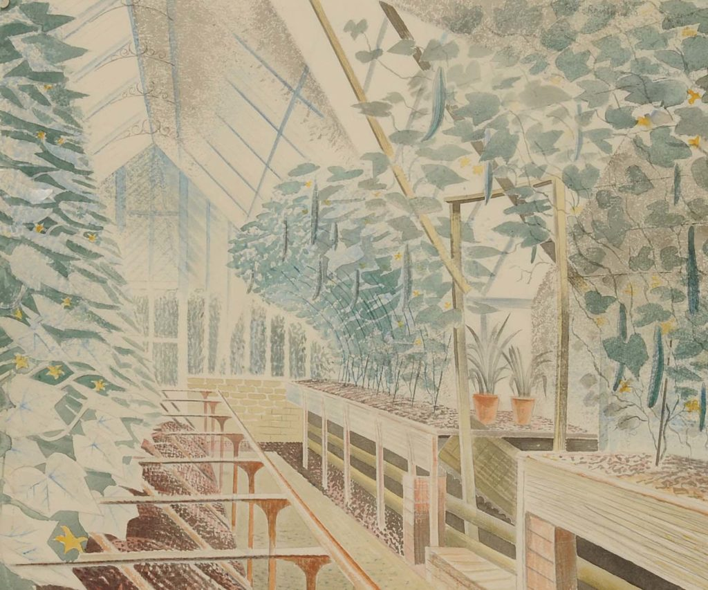 a watercolour painting showing the interior of a greenhouse