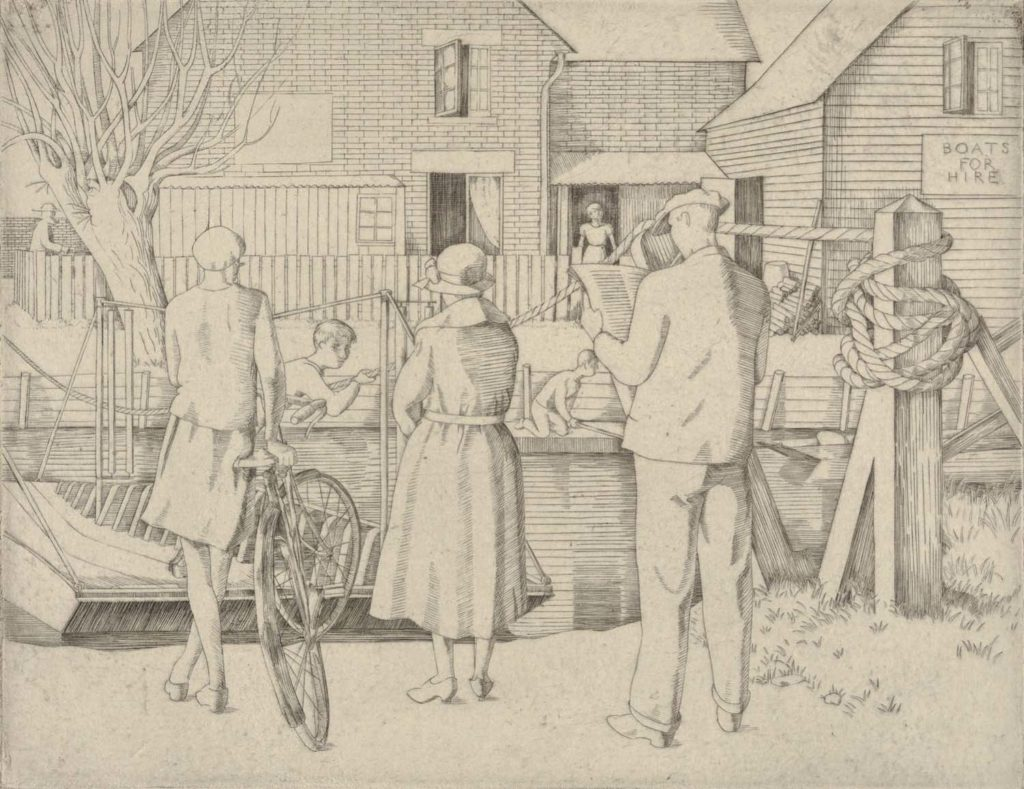a drawing of people wating next to a small river for a wooden ferry boat