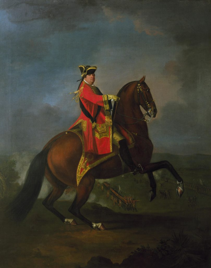 a painting of a man in a red coat on a rearing horse