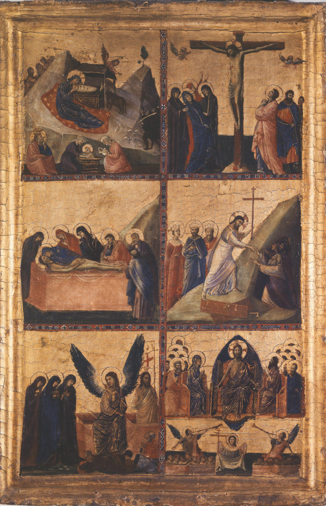 painted panel depicting scenes from Christ's life