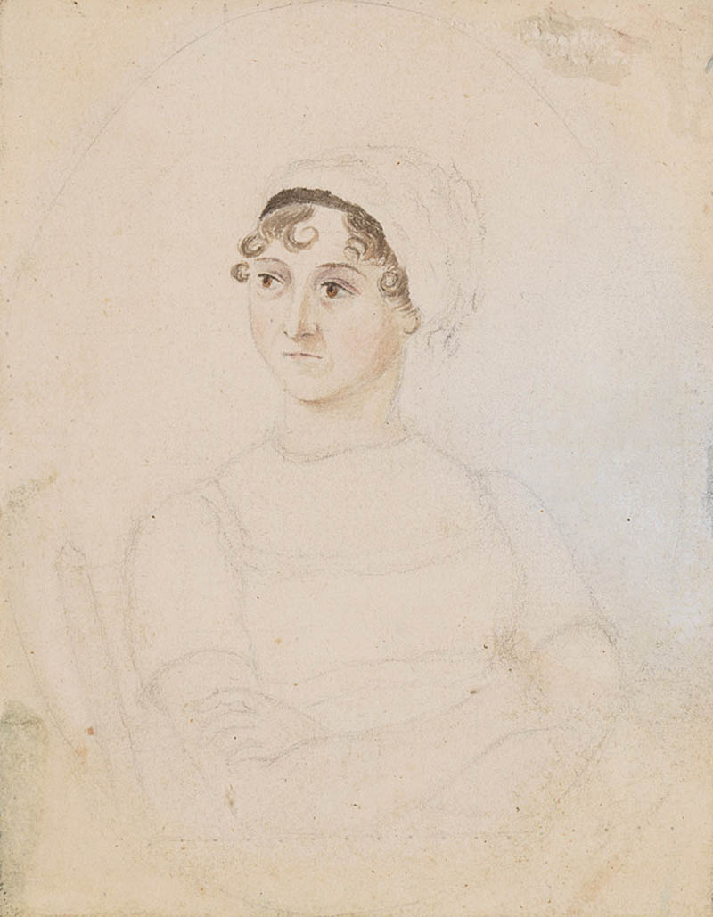 a watercolour sketch of a woman in regency era cap with curls visible below it