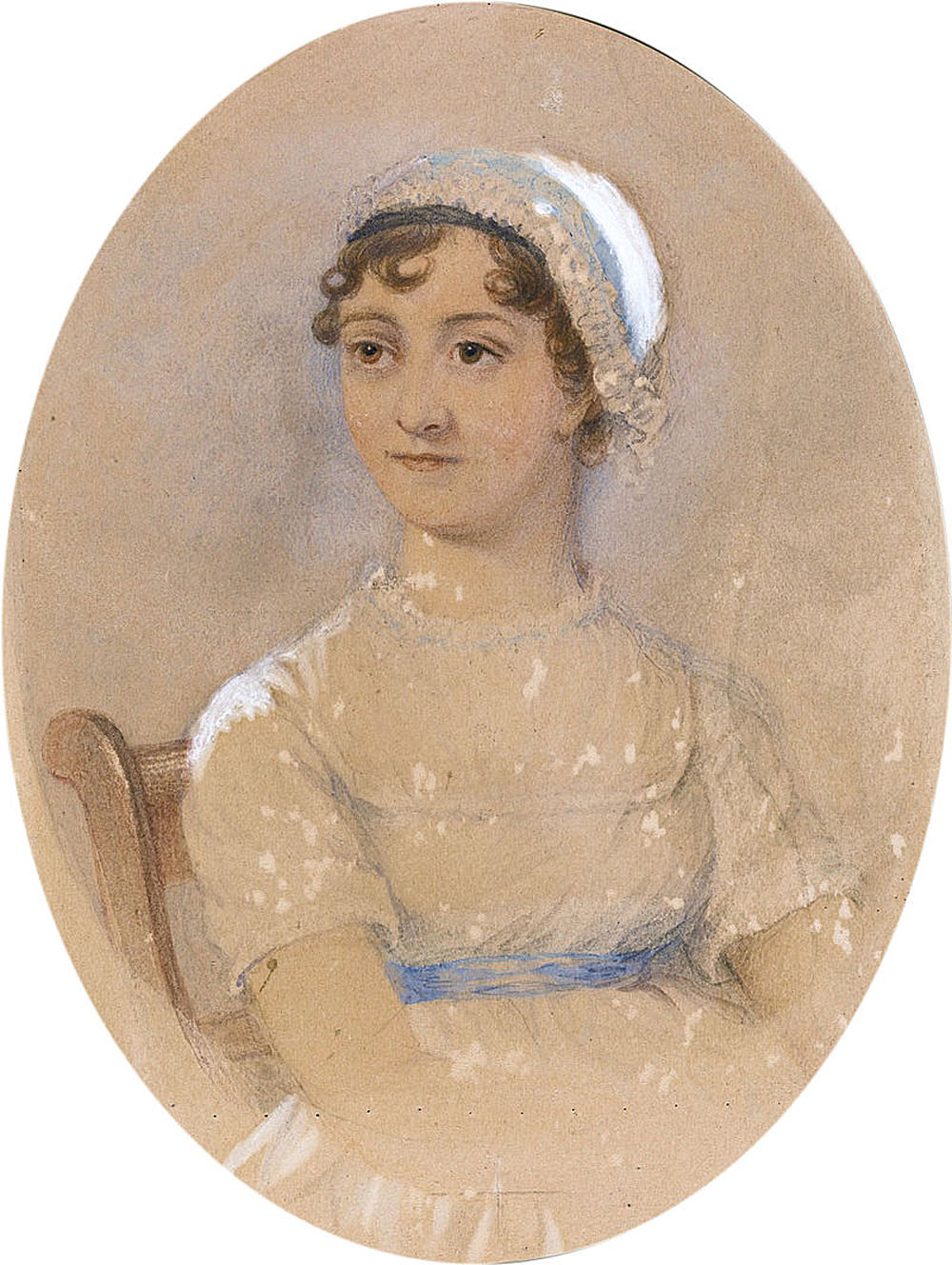 a delicate watercolour portrait of a Regency woman in a bonnet and high-waisted dress with blue sash