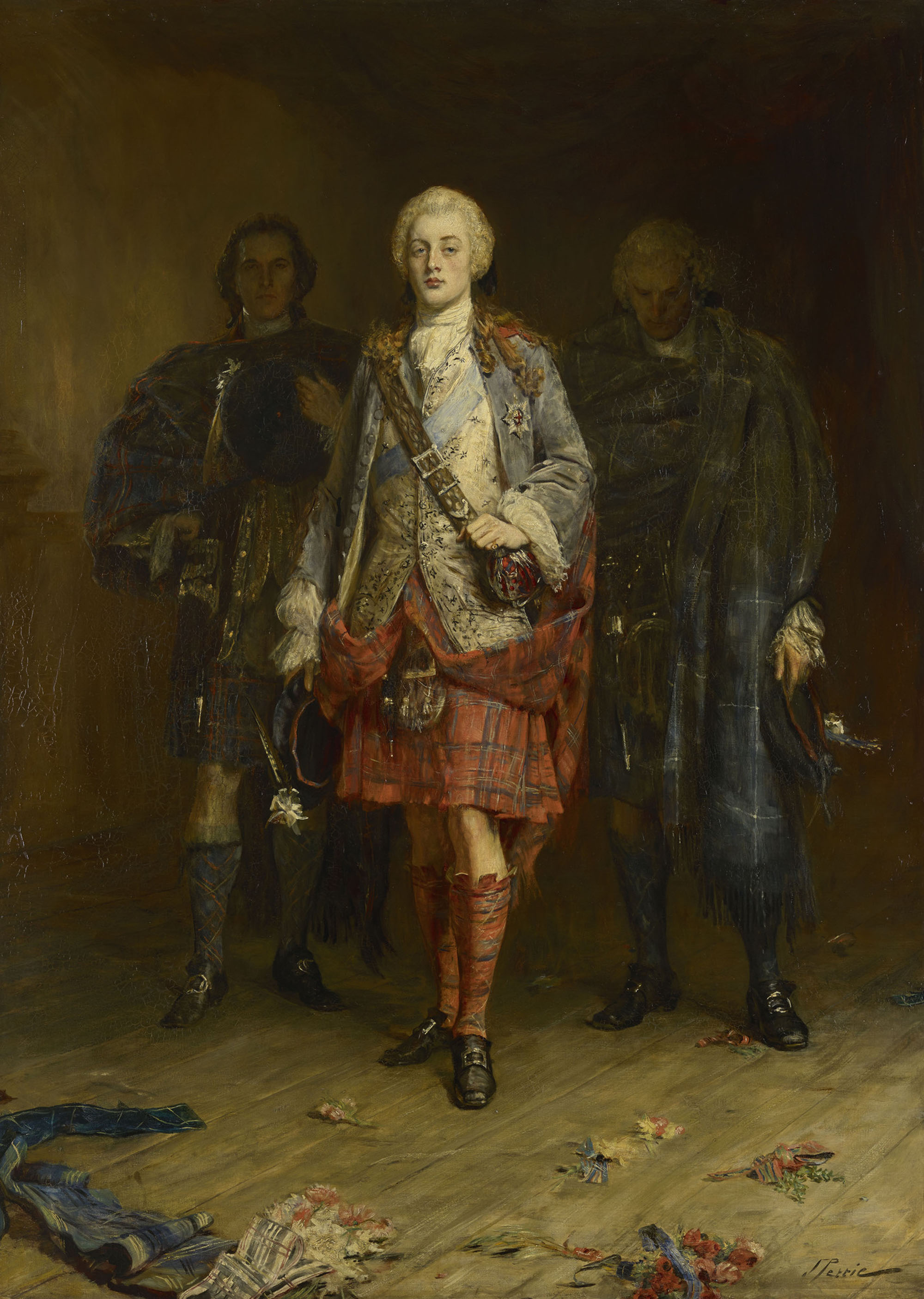 a painting of Bonnie Prince Charlie flanked by two men in kilts