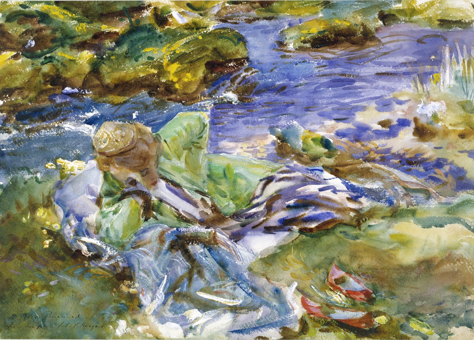 a watercolour sketch of a woman reclining by a stream