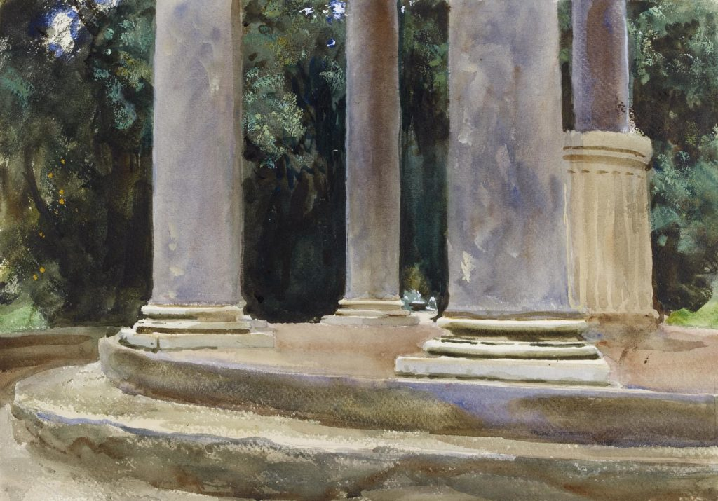 a sketch of a series of classical pillars