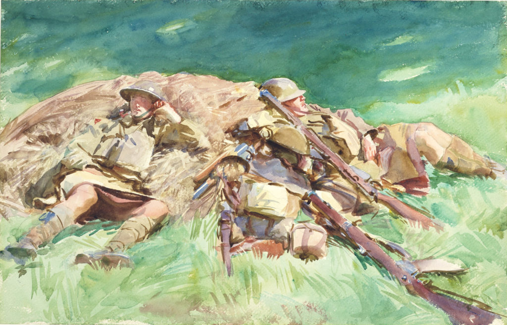 a watercolour sketch of four soldiers in kilts resting on a mound of hay