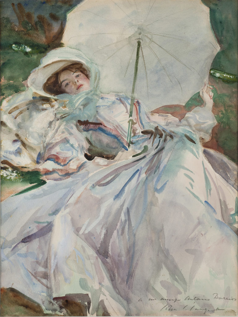 a colour sketch of a woman reclining beneath a white parasol