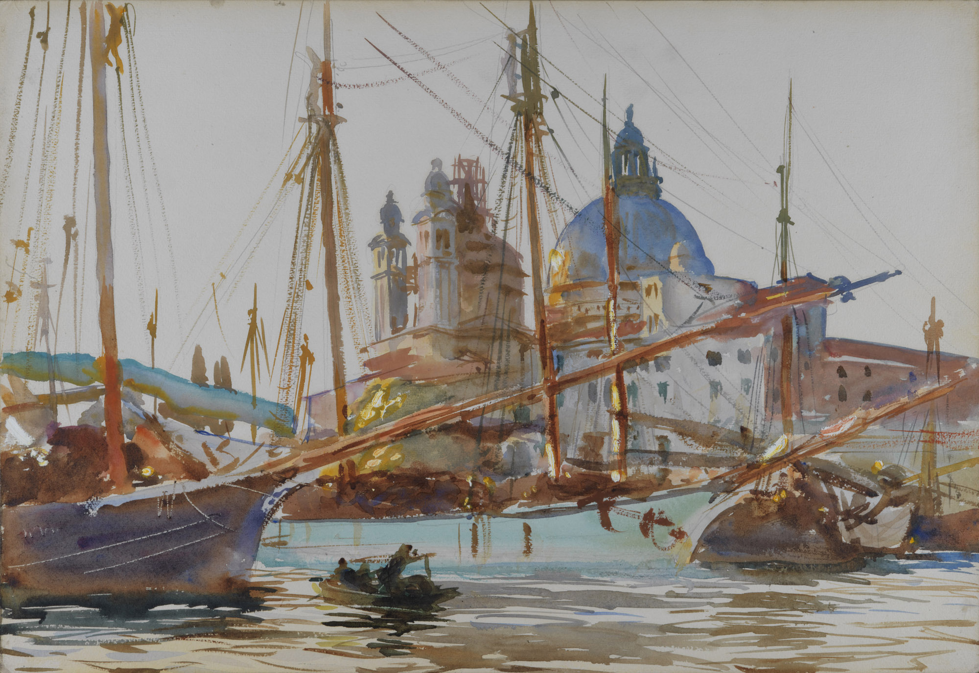 a watercolour sketch of domed buildings seen through the rigging of boats on the water